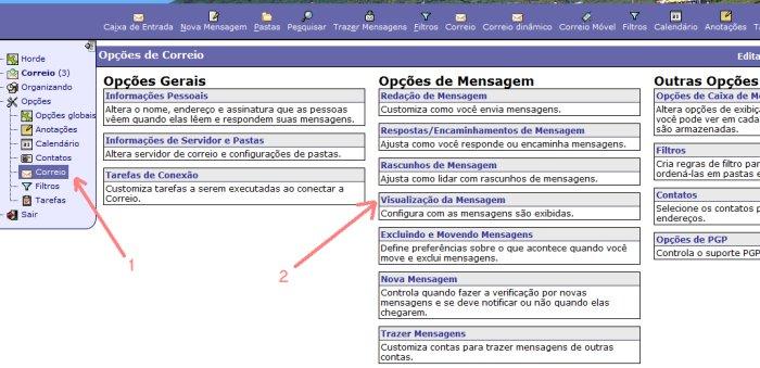 VISUALIZAÇÃO DE MENSAGENS NO WEBMAIL HORDE
